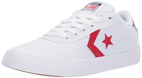 Converse Women's Point Star Low Top Sneaker, White/Enamel Red/Navy 5 M US