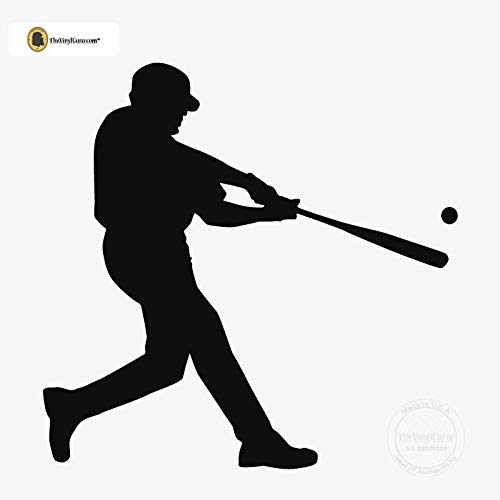 TheVinylGuru - Baseball Wall Decal - Right Handed Batter Vinyl Art for Home Decor - Removable Giant Sticker - Batting Player Silhouette for Boys and Girls - Safe Outline Figure for Themed Room Design