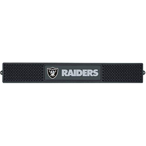 3.5 X 24 Inches NFL Raiders Drink Mat, Football Themed Bar Counter Table Protector Sleek Design, Team Logo Fan Merchandise Athletic Team Spirit Fan, Black Silver, Vinyl