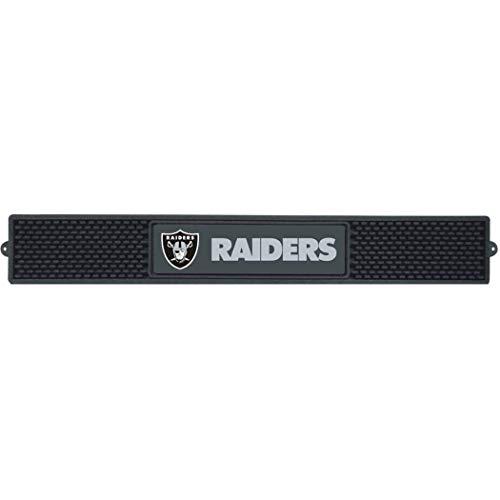 3.5 X 24 Inches NFL Raiders Drink Mat, Football Themed Bar Counter Table Protector Sleek Design, Team Logo Fan Merchandise Athletic Team Spirit Fan, Black Silver, Vinyl ()