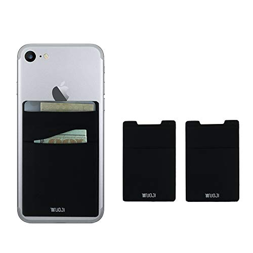 [2pc] RFID Blocking Phone Card Wallet - Double Secure Pocket - Ultra-Slim Self Adhesive Credit Card Holder Card Sleeves Phone Wallet Sticker for All Smartphones(Black2)