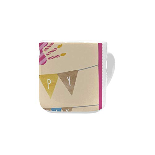 26th Birthday Decorations White Heart Shaped Mug,Anniversary Flag with Best Wishes Message Life Modern Print for Home,2.56
