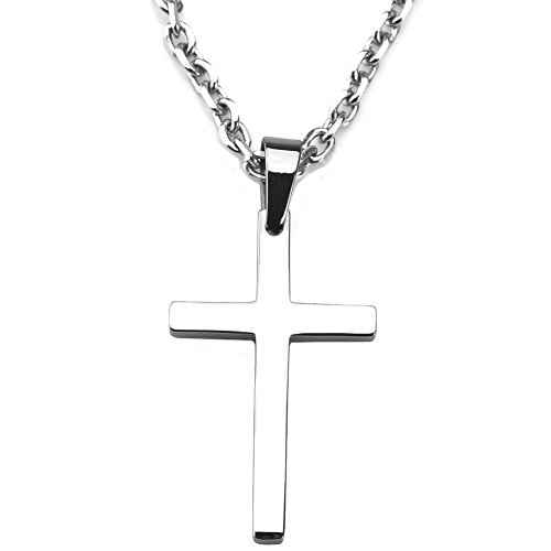 Sirius Jewelry Stainless Steel Cross Pendant Chain Necklace for Men Women, (4cm, 24'' rolo chain)
