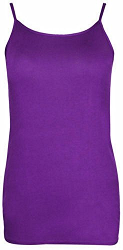 Womens Plus Size Strappy Camisole Vest Tops Ladies Stretch Summer Tank Tops, Purple, EU 50-52