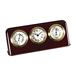 Desk Clock w Thermometer & Hygrometer in Mahogany Finish-Wood