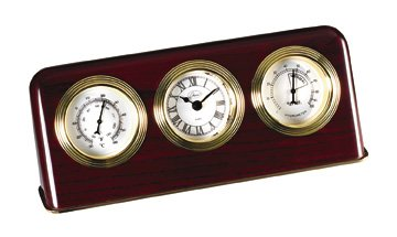 Chass Desk Clock w Thermometer & Hygrometer in Mahogany F...
