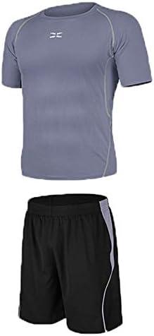 レディースジャージ上下セット Tシャツと緩いショートパンツメンズ2ピースワークアウトスーツAlthletic衣装セット圧縮半袖 吸汗 速乾 (Color : Black gray, Size : S)
