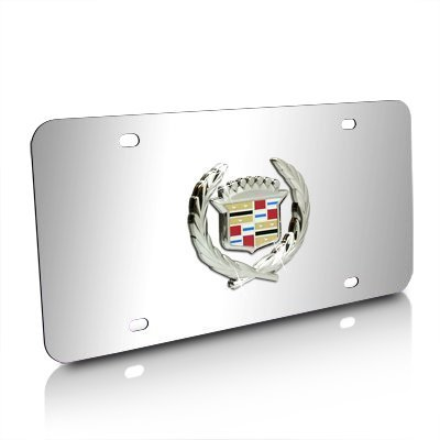 (Cadillac Classic Logo Chrome Stainless Steel License Plate)