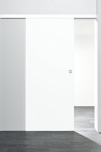 Holzschiebetür Zimmertür 755x2035mm Holz - Innentür Komplettset mit Laufschiene & Tür (Weiß | Quadratgriff)