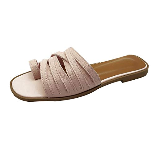 Women's Shoes Bohemian Cross Belt Sling Back Back Famous Style Wind Slippers Flat Thong Sandals Pink (Sandals Bongo Womens)