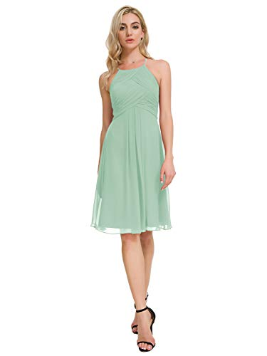 Alicepub Chiffon Bridesmaid Dresses Halter Cocktail Dress Short Homecoming Party Dresses Plus Size, Mint Green, US20