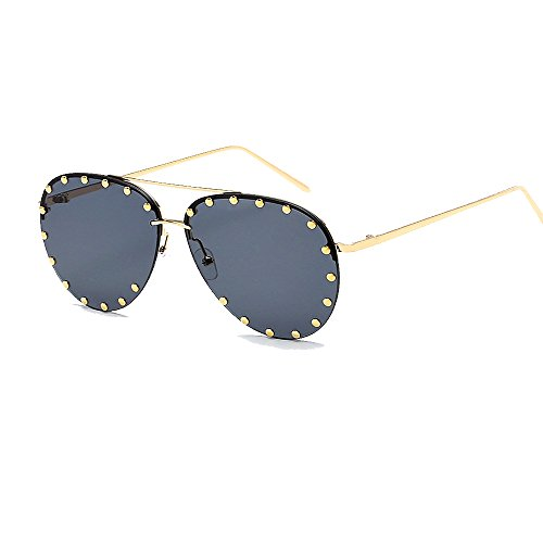 (BVAGSS Women Rimless Oversized Sunglasses Colorful Lens Rivet Fashion WS027 (Gold Frame,)