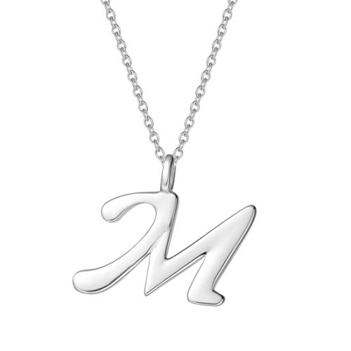 FANCIME Sterling Silver Gold Plated Initial Necklace High Polish Monogram Letter Initial M Pendant Necklace Fine Jewelry for Women Girls 16