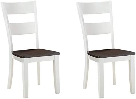 Pemberly Row Dining Chair with Solid Wood Seats in White (Set of Two)