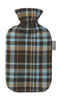 Fashy Hot Water Bottle with Tartan Cover Blue - Made in Germany