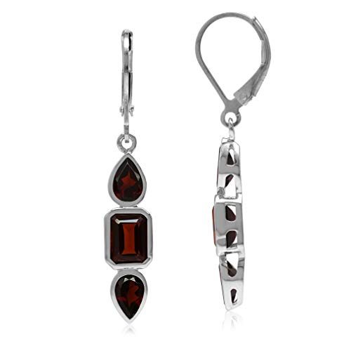 (4.4ct. Natural Garnet White Gold Plated 925 Sterling Silver Leverback Dangle Earrings)