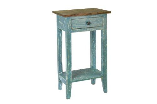 Bedroom Brass Side Table (Antique Revival Avignon Side Table, Blue)
