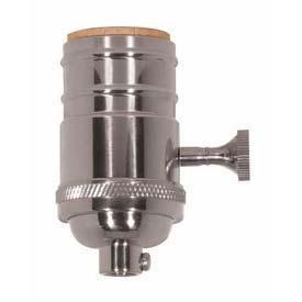 Satco 80-1047 3 Way (2 Circuit) Turn Knob Socket W/Matching Finish Removable Knob Polished ()