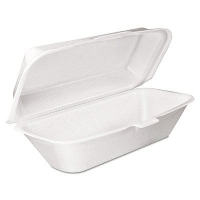 Dart 99HT1R Foam Hoagie Container with Removable Lid, 9-4/5x5-3/10x3-3/10, White, ()