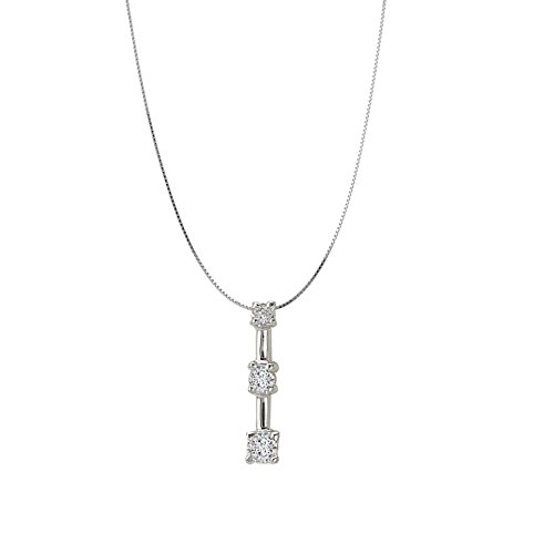 14k White Gold 3-Stone Diamond Bar Pendant Necklace- 18 IN (0.12ctw)