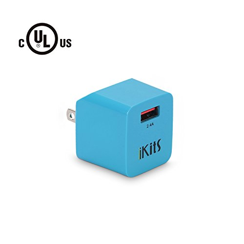 USB Wall Charger, iKits (UL Certified) 5V 2.4A Single Port USB Universal Travel Charger Ultra Compact Foldable Plug Adapter Compatible iPhone XR,XS,X,8,7,Plus,iPad pro/Air,iPad Mini,iPod & More Blue