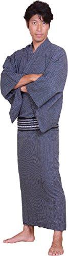 sakura Men's Yukata kimono with obi belt set skura model black Large ( Black belt )