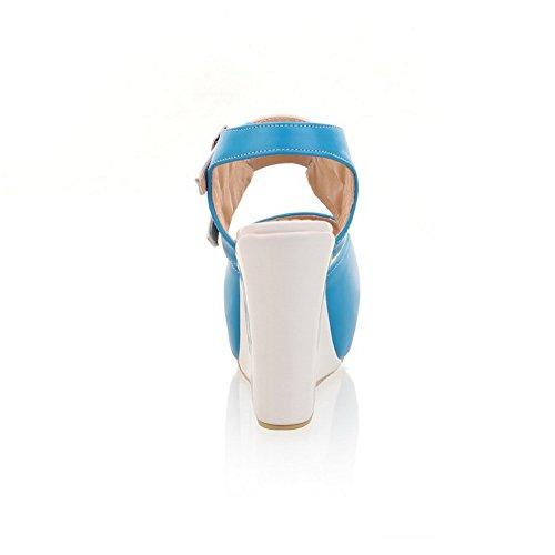 À Talons Pu Ouvert Bout Boucle Hauts Sandales Solides Femmes Bleu Voguezone009 De BwgYqta