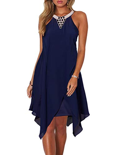 Dokotoo Womens Fashion Summer Loose Overlay Embellished Halter Neck Chiffon Solid Sleeveless Ruffle Casual Mini Dress Navy Blue Large