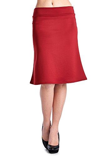 (82S-9025TN-BGD Women's Techno Fabric Midi A-Cut Skirt - Burgundy L)