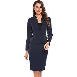 Zeagoo Women 2-Piece Long Sleeve Office Lady Blazer and Skirt Suit Set