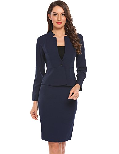 Zeagoo Women 2-Piece Long Sleeve Office Lady Blazer and Skirt Suit Set
