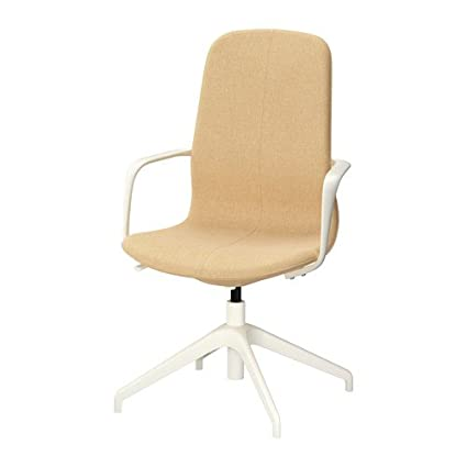 IKEA Swivel Chair 41u0026quot;, Gunnared Yellow High Back Seat, White Legs  26386.232020.