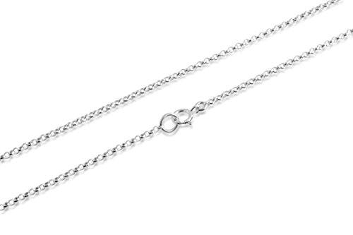 Round Cable Chain - 925 Sterling Silver Thin 1mm Round Cable Chain 12