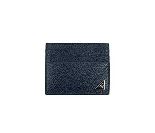 Prada Micro-grain Leather Card Case Holder, Navy 2MC223