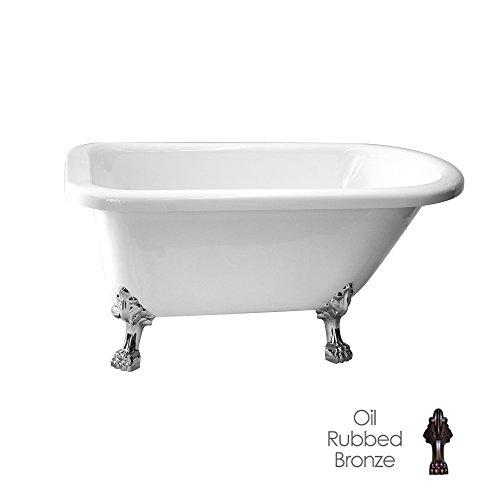 Randolph Morris 60 Inch Acrylic Classic Clawfoot Tub - No Faucet Drillings - Lion Paw Feet (No Lion Paw Faucet Feet)