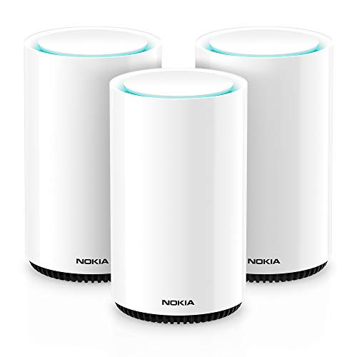 Nokia WiFi Beacon 3 Mesh Router System - Intelligent, Seamless Whole Home WiFi Coverage Extender - Connect Your Whole House WiFi Network, Ultra Fast Self-Healing Mesh Router System - Trio (3-Pack) (Best Wifi Router With Maximum Range)