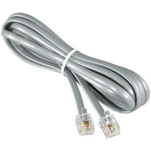 InstallerParts RJ11 Modular Telephone Cord Extension- Straight Wiring, Silver