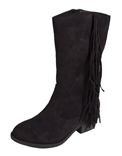 lustacious-womens-round-toe-mid-calf-western-block-heel-boots-with-side-fringe-and-side-zipper-black