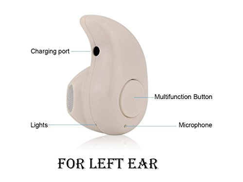 [Left Ear Version] Actpe Mini Invisible Style Wireless Bluetooth Hands free Calls Headphone Headset Earbud Earphone with Microphone for iPhone 6S, iPad, Samsung Galaxy S6, Note 4, Android - Natural