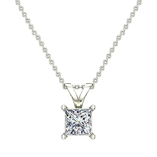 1/3 ct tw VS2 G Natural Princess Cut Diamond Solitaire Pendant Necklace 14K White Gold ()