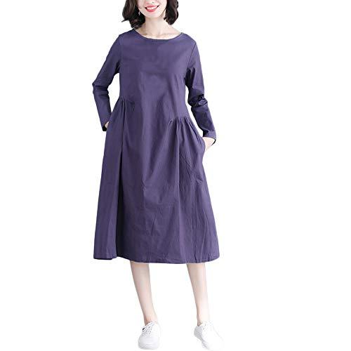 DOGZI Mujer Vestido Largo Mujer 2018 Color sólido Algodón y Lino Manga Larga Bolsillo Suelto Vestido Vestido para Playa Mujer Tallas Grande Azul