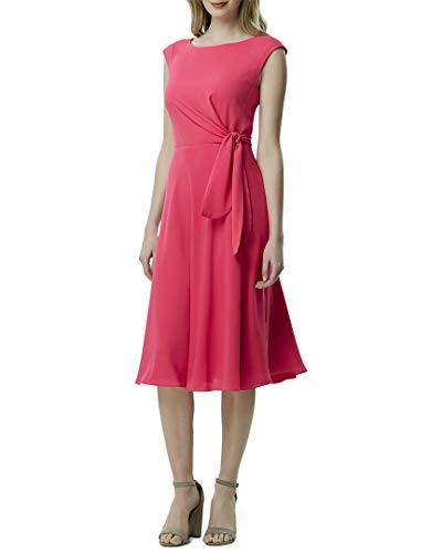 Tahari ASL Women's Sleeveless TIE Side Tea Length Dress, Fuchsia, 10