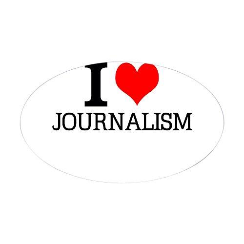 CafePress I Love Journalism Sticker Oval Bumper Sticker, Euro Oval Car Decal