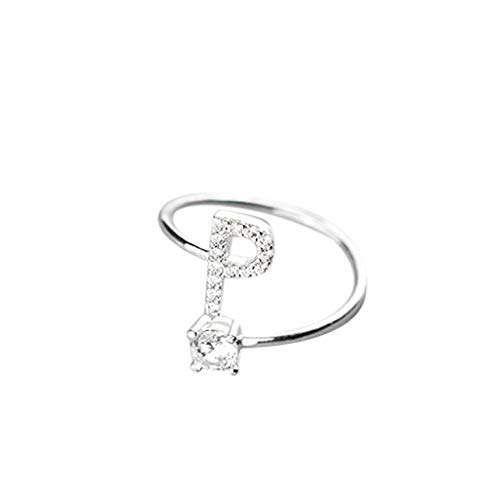 Orcbee  _Fashionable and Simple Opening 26 Letters with Diamond Ring Ladies Jewelry (P)
