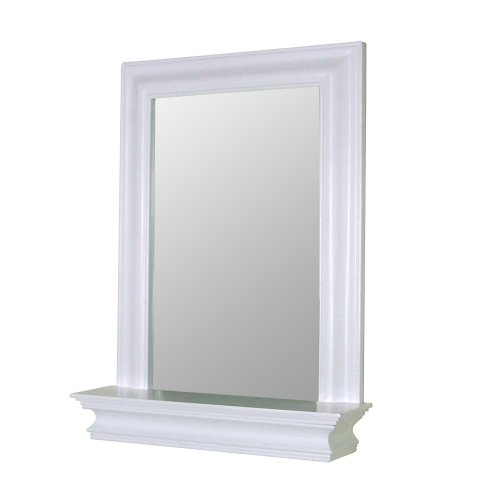 amazoncom elegant home fashions stratford collection framed mirror with shelf white home kitchen