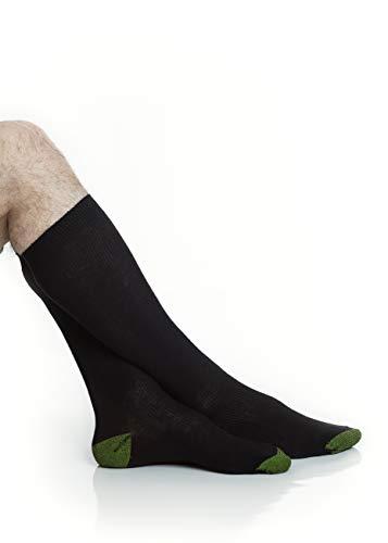 Mens Classic Cotton Over-the-Calf Socks - Boot Socks - Soccer Socks Men - Black and White - 3 Pack and 6 Pack - by Topfit (black,6pk, 10-13)