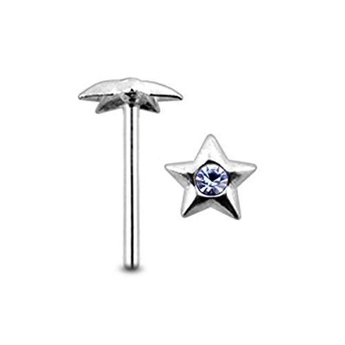 Lavender Jeweled Star Top 22 Gauge - 8MM Length Silver Straight End Nose Stud Nose Piercing ()