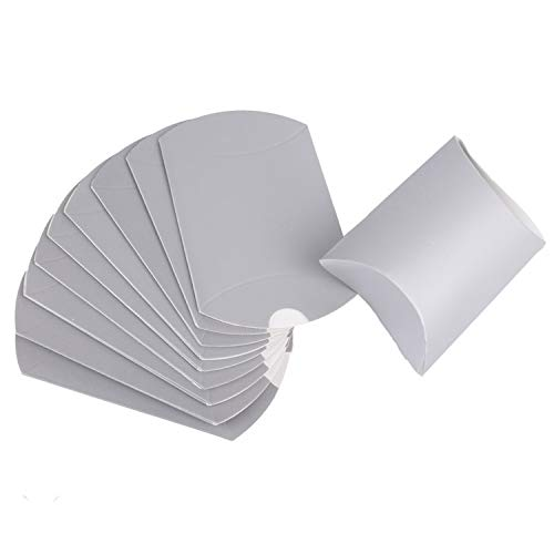 10Pcs Pillow Shape Kraft Jewelry Candy Box Craft Paper Wedding Favor Gift Boxes Pie Party Box Bags Friendly,Silver