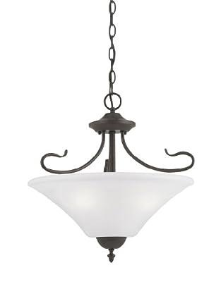 Philips Lighting Sl8253-63 Elipse Three-Light Convertible Semi-Flush/Pendant, Painted Bronze