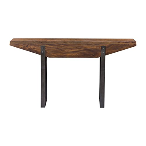 My Swanky Home Minimalist Industrial Wood Slab Iron Console Table | Architectural Mahogany Luxe
